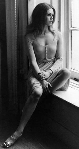 Joanna Lumley wearing Jean Muir dress, 1980