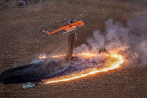 An Erickson S-64 Air-Crane is used to fight fires in East Gippsland, Victoria