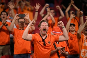 Netherlands fans celebrate their team's victory.