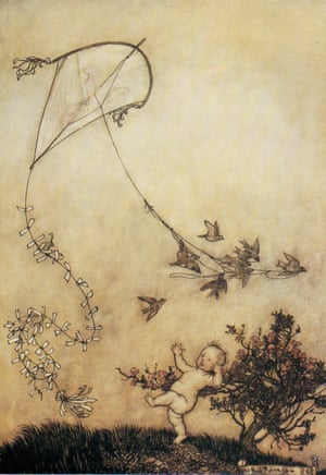 Arthur Rackham, Peter screamed out, 'Do it again!' and with great good-nature they did<br> it several times, from Peter Pan in Kensington Gardens by JM Barrie, 1906