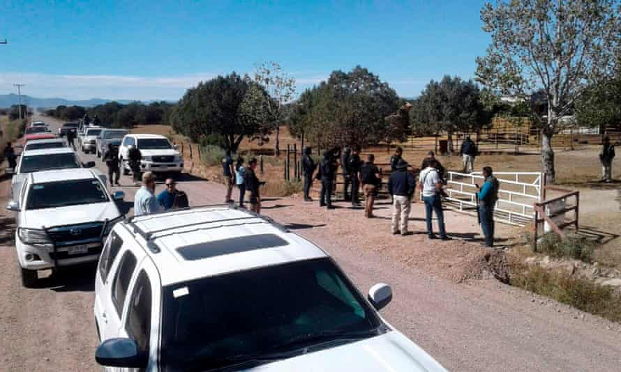 The police operation at the ranch of Orson William Black in Cuauhtemoc, Chihuahua state, Mexico on Sunday.
