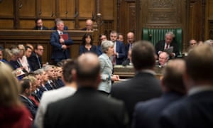 Theresa May speaking in the Commons yesterday ahead of the vote that saw MPs voting to try to take control of the Brexit process.