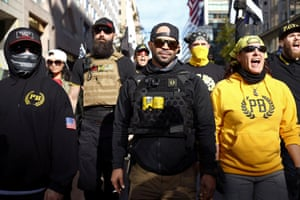 Members of the far-right Proud Boys rally in support of Donald Trump at a protest against the results of the 2020 presidential election.