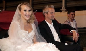 Ksenia Sobchak and theatre director Konstantin Bogomolov provided the celebrity wedding of the summer, attended by political figures.