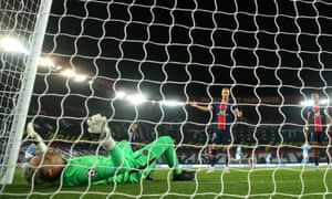 PSG keeper Keylor Navas looks dejected after conceding his side's first goal scored by Kevin De Bruyne of Manchester City.
