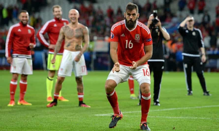 Wales's Joe Ledley dances in celebration after the 3-1 quarter-final victory against Belgium in Lille