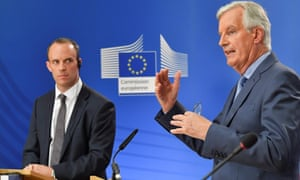 Michel Barnier, right, during a joint press conference with the Brexit secretary, Dominic Raab.