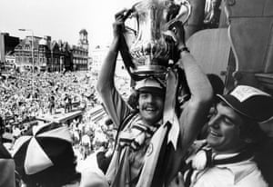 Alan Devonshire lifts the FA Cup over his head at the civic reception to celebrate the club's third FA Cup triumph