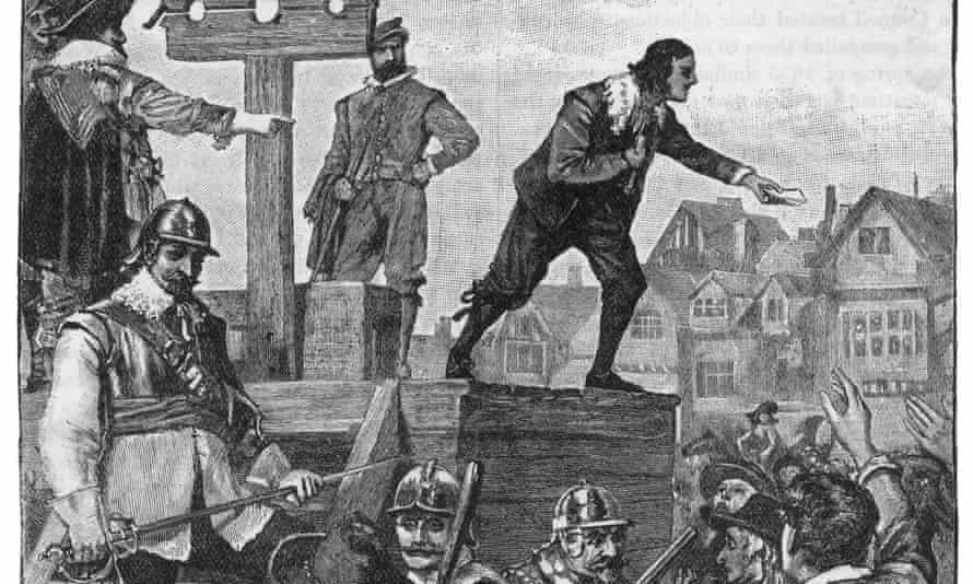 John Lilburne of the Levellers appeals to the crowd as he stands at a pillory