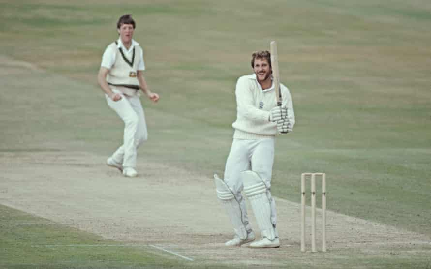 Ian Botham smiles after hooking Australia's Geoff Lawson for 4 during his magnificent 149 not out in England's second innings at Headingley.