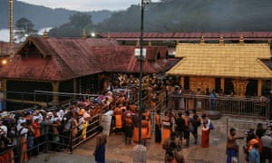 Hindu devotees at the Sabarimala temple in the southern Indian state of Kerala.
