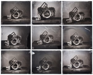 A composite of nine images of a burnt camera, from the home of Kenny and Connie Waranius