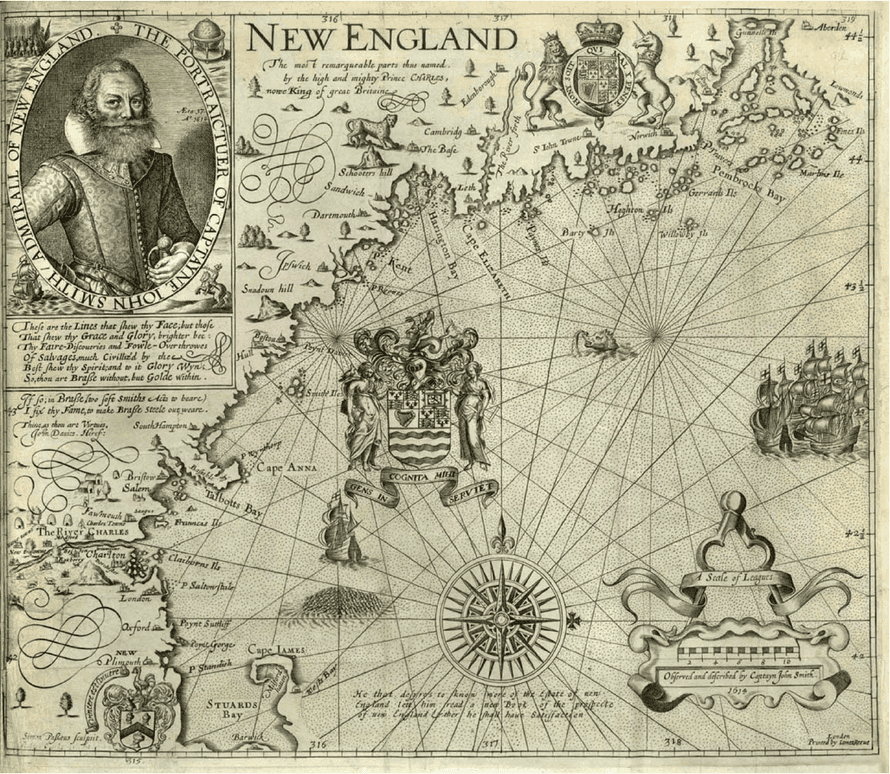 John Smith's map of New England, drawn in 1614 and later published in London, showing no traces of the indigenous population.