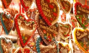 Gingerbread hearts at a Christmas market in Halle, Germany.