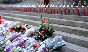 Flowers and candles on the steps of St George's hall during the Hillsborough memorial vigil.