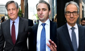 A composite file image showing Banking CEOs leaving the Royal Commission
