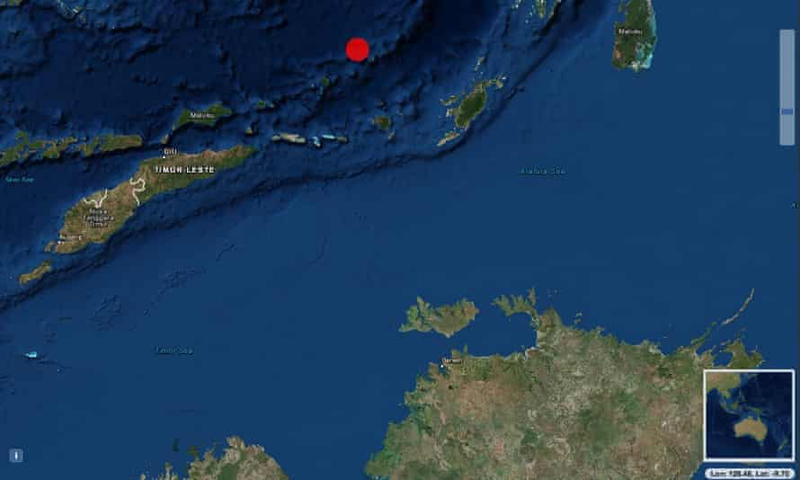 A map from Geoscience Australia shows the centre of the earthquake in the Banda Sea, north of Australia