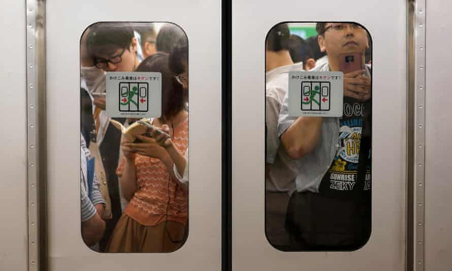 Commuters on a train.