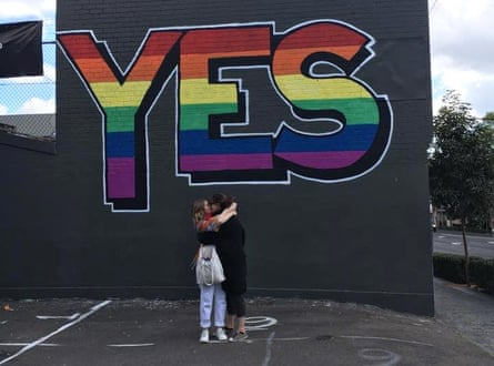 Dee Jefferson and her fiance, on the morning of the Sydney marriage equality rally.