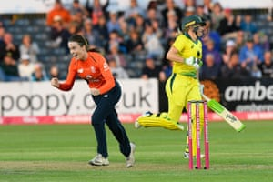 Mady Villiers of England celebrates taking the wicket of Alyssa Healy of Australia.