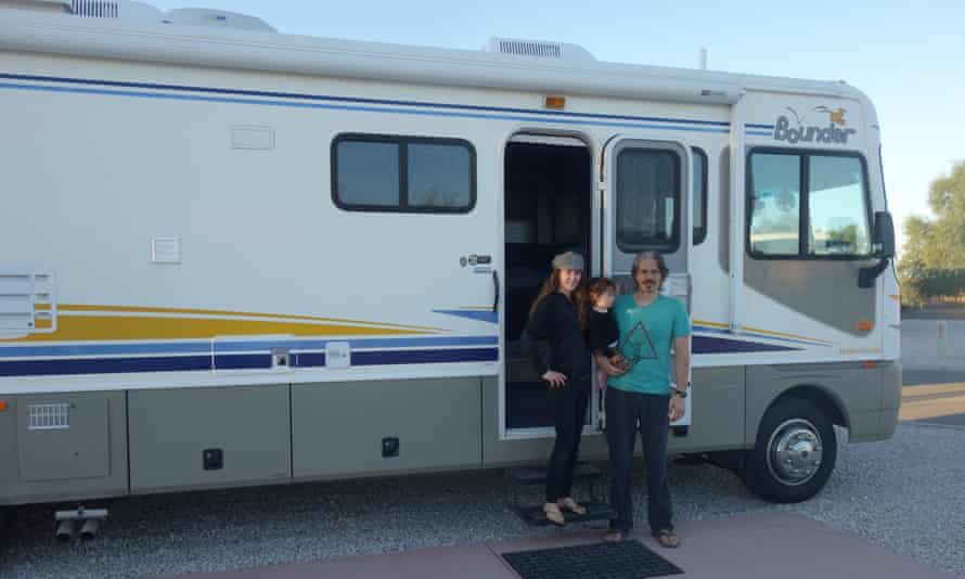 Stevie Trujillo, her partner Tree, and the RV they bought to replace the van.