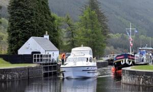 Boats going though Laggan Lock, Scotland.