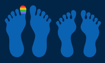Illustration of two pairs of feet, one big toe is painted in rainbow colours