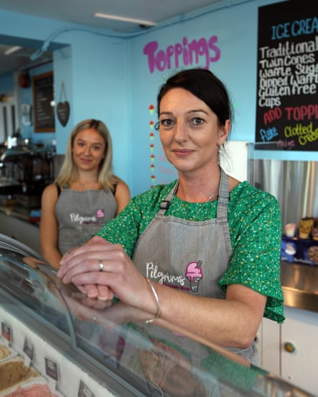Emma Leitch (right) and assistant Floss Hacon at the Pilgrims ice cream shop.