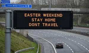 A sign on the M8 near Glasgow advises people not to travel over Easter