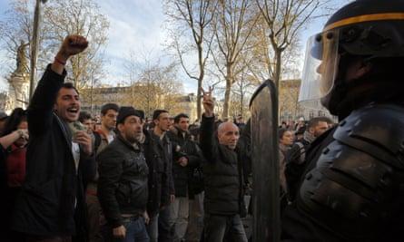 Protesters and riot police in Paris's Place de la République earlier this week.