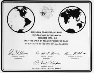 Eugene Cernan's space certificate, signed by Richard Nixon