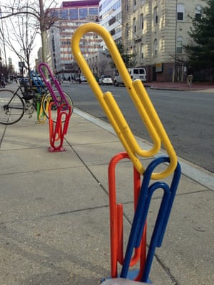 Paperclip bike racks in Washington DC.