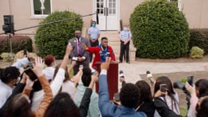 Rapper DaBaby gave a press conference outside a court building in Atlanta, Georgia