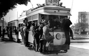 The tram in the streets of Cairo, 1934