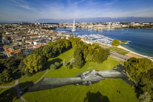 Geneva, Switzerland: A giant biodegradable land art painting by French-Swiss artist Saype