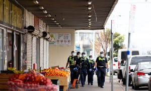 Police at Footscray Market in Melbourne, Victoria Australia on 20 September 2020.