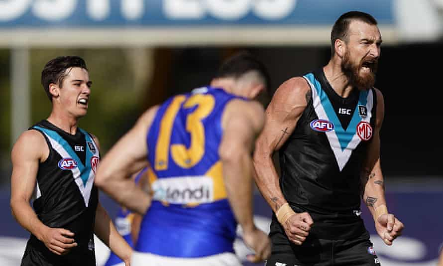 Charlie Dixon reacts after kicking a goal during the round 4 AFL match between the Port Adelaide Power and the West Coast Eagles