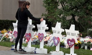 A memorial outside the Tree of Life synagogue in Pittsburgh. Eleven people were killed and six injured in the attack on Saturday.