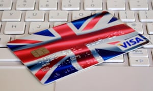 A credit card with union jack flag design sat on keyboard
