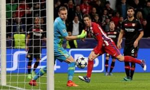Fernando Torres. Fernando Torres sends the ball past the Bayer Leverkusen  goalkeeper Bernd Leno to score Atlético Madrid's ...