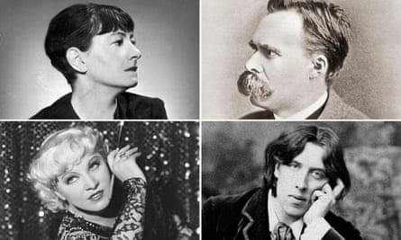 'The aphorism talks to you as if you were an idiot' … clockwise from top left, aphorists Dorothy Parker, Friedrich Nietzsche, Oscar Wilde and Mae West.