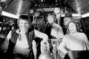 "Star Wars (1977) Harrison Ford, Peter Mayhew, Mark Hamill, and Carrie Fisher having fun between takes. Harrison Ford: ""George cast the four of us — Mark Hamill, Alec Guinness, Carrie, and me — as an ensemble. If he hadn't used me, say, he probably wouldn't have used the other two or three. I think that that feeling of being at ease with one another shows up on the screen."""
