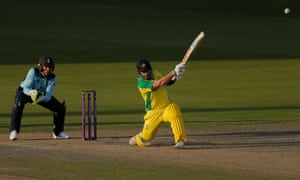 Finch hits to the boundary for four.