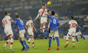 Southampton's Jannik Vestergaard heads in powerfully for the equaliser.