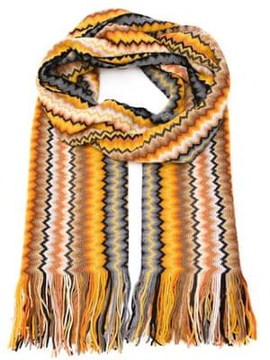 """£258, by Missoni from <a href=""""http://www.farfetch.com/uk/shopping/women/missoni-zig-zag-pattern-scarf-item-11146878.aspx?storeid=9600&amp;ffref=lp_pic_53_1_"""">farfetch.com </a>"""