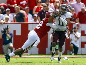 Quinnen Williams sacks Texas A&M quarterback Kellen Mond during a game last season