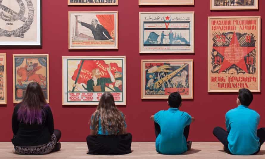Students looking at art at the Tate Modern