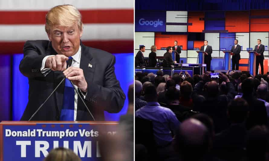As Republican candidate Donald Trump' hosted a rival event, the seven candidates lined up on the Fox News debate stage in Des Moines.
