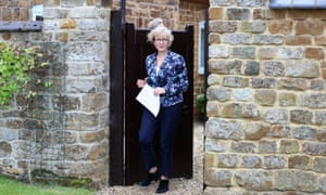 Andrea Leadsom outside her home yesterday