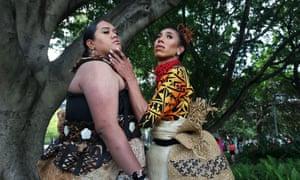 Anita Maka of Tonga and Sarina Leilua of Samoa in Hyde Park before the parade